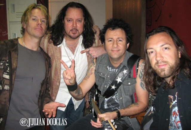 In the Green Room before Warrant's show with Robert Mason (Lynch Mob) & Erik Turner and Ben Carey of Lifehouse 10/9/09.