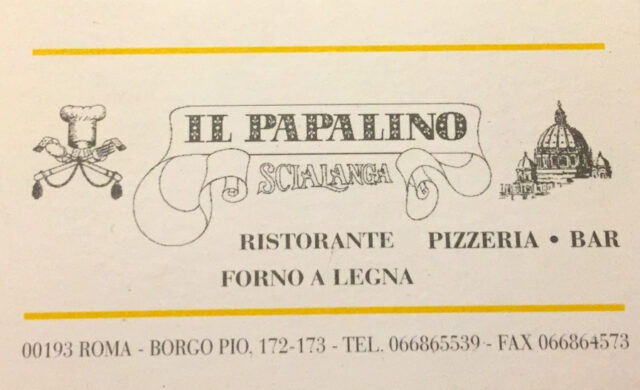 Il Papalino's business card.