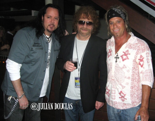 Backstage at the Greek Theatre for Ringo Starr. Just hanging with ELO legend, Jeff Lynne, and long time friend, Ratt's Bobby Blotzer. August 2008.