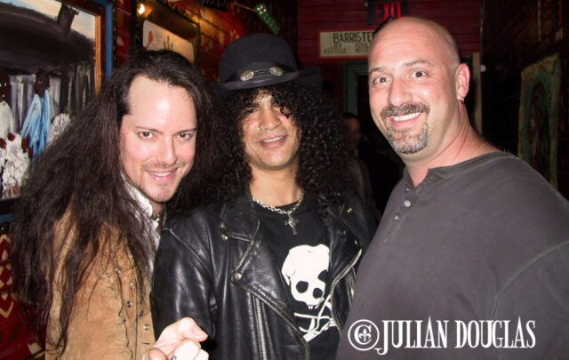 "Partying backstage with Guns 'N Roses Slash, along with my long time friend, Jorden ""The ""Junkman"" of KNAC.com, at the House Of Blues - Sunset Strip. April 2003."
