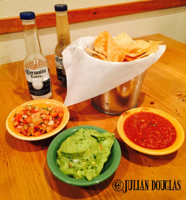 We always startof with the works... chips & salsa along with pico de gallo & guacamole.