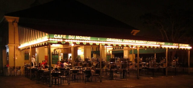 Cafe Du Monde at night, open 24 hours a day (photo courtesy of Cafe Du Monde).