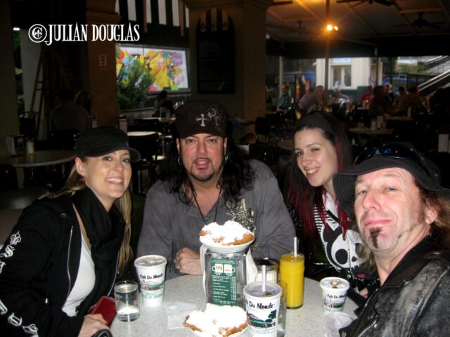 One of our many visits to Cafe Du Monde in New Orleans, this time Nicole & I with Colby and Bo.
