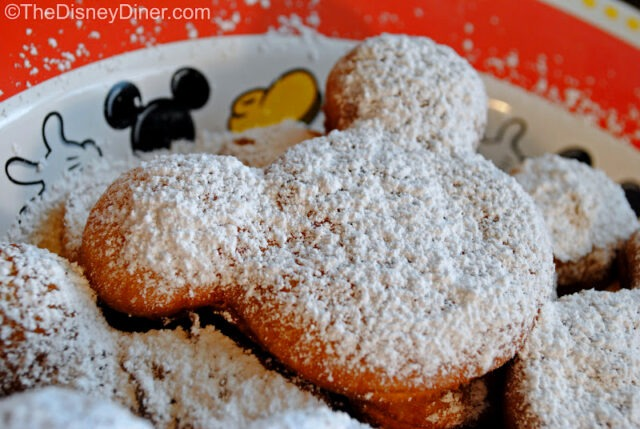 Mickey Mouse Beignets from Cafe Orleans in Disneyland (photo courtesy of TheDisneyDiner.com).