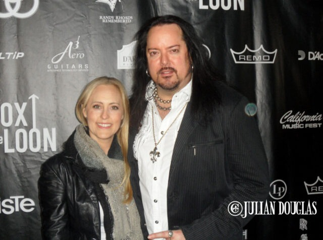 """""""Mr. 80's"""" & """"Mrs. 80's"""" (according to our NAMM badges, lol), walking the red carpet at the Bonzo Bash, January 22nd, 2015."""