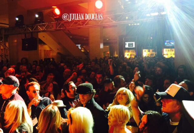 An idea of just how packed it was in the Main Lobby Bar of the Hilton Anaheim for Flashback Heart Attack, January 24th, 2015.