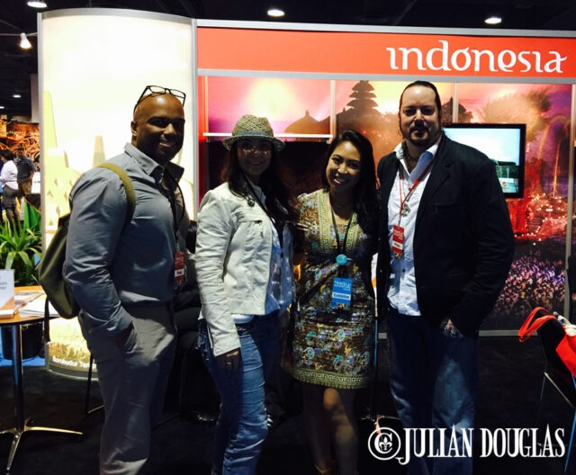 The best travel couple & better friends, oh, and incredible staff of mine, Tracy & Jennifer, along with worldwide explorer, Cindy at the Indonesia booth.