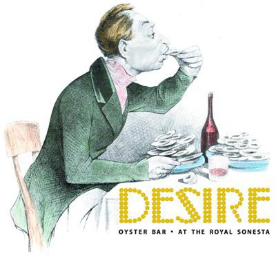 One of the vintage Desire Oyster Bar posters.
