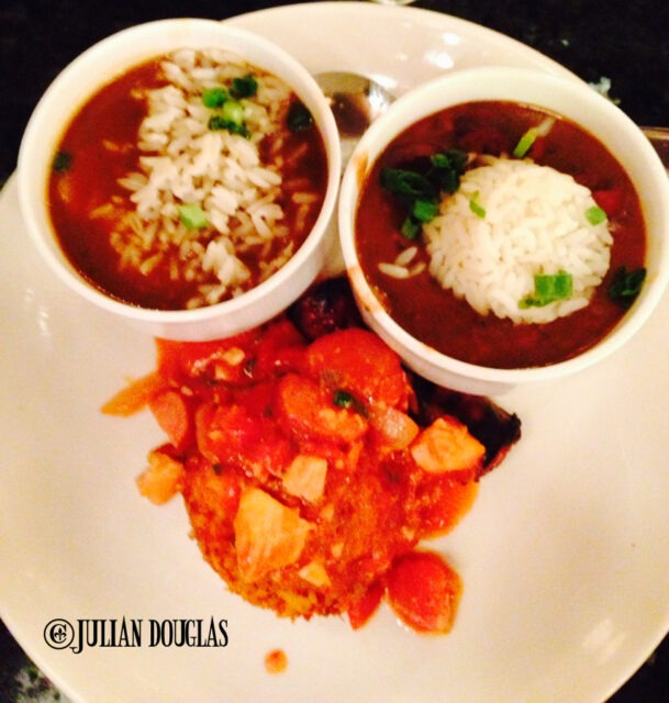 Desire's Creole Trio: Jambalaya, Gumbo and Red Beans & Rice.
