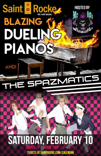 THE SPAZMATICS (Nerds that Rock!) with BLAZING DUELING PIANOS... it's a Party !!! @ SAINT ROCKE | California | United States