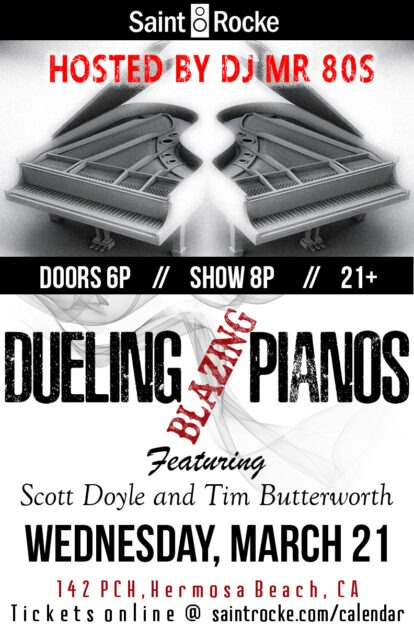 "BLAZING ""DUELING"" PIANOS for ""TOTALLY WAYBACK WEDNESDAYS"" is back! @ SAINT ROCKE 