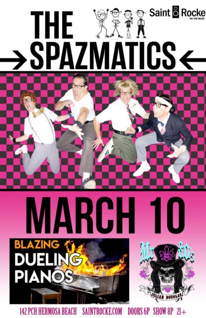 THE SPAZMATICS & BLAZING DUELING PIANOS - 80's at the Beach @ SAINT ROCKE | Hermosa Beach | California | United States